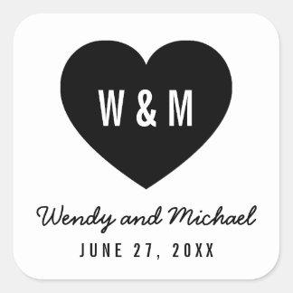Monogram Heart Modern Save the Date Wedding Square Sticker