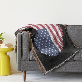 Monogram. Heart Shaped USA American Flag. Throw Blanket
