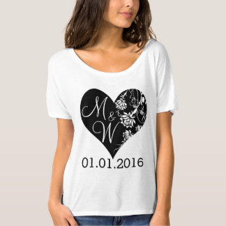 Monogram heart t-shirt Wedding t-shirt