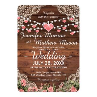 Monogram Heart Wedding Invitation Rustic Country