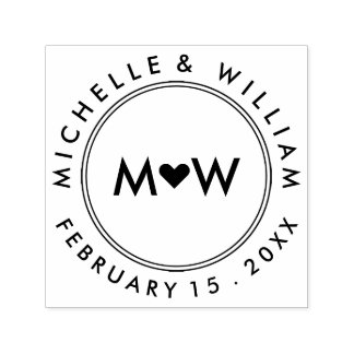 Monogram & Heart | Wedding Self-inking Stamp