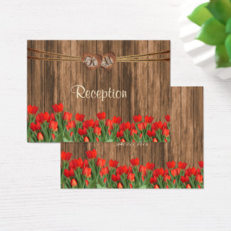 Monogram Heart with Red Tulips - Reception Business Card