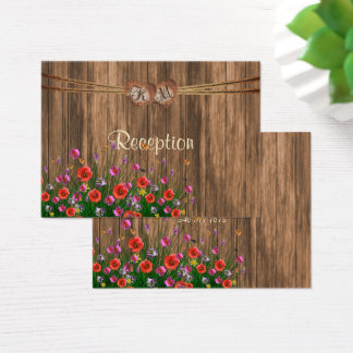 Monogram Heart with Wildflowers - Reception Business Card