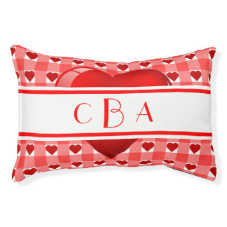 Monogram Hearts and Gingham Small Dog Bed