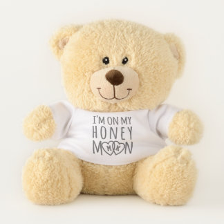 Monogram Hearts Cute On Honeymoon Teddy Bear