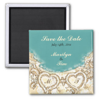 Monogram Hearts on the Beach Save the Date Magnet