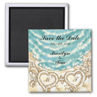 Monogram Hearts on the Beach Save the Date Square Magnet