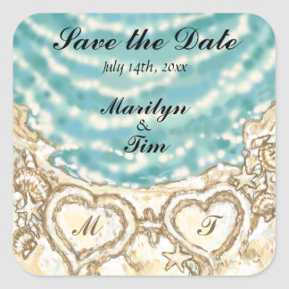 Monogram Hearts on the Beach Save the Date Square Sticker