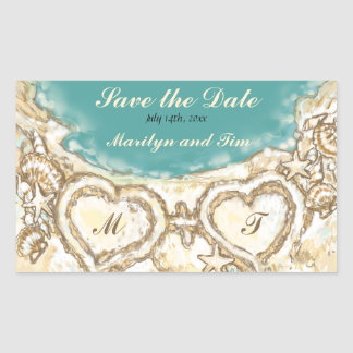 Monogram Hearts on the Beach Save the Date Rectangle Sticker