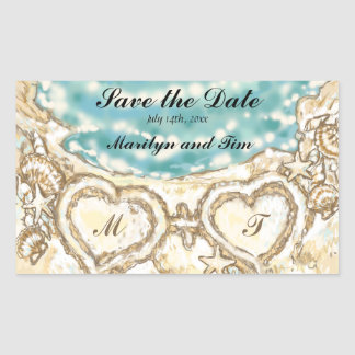 Monogram Hearts on the Beach Save the Date Rectangular Stickers
