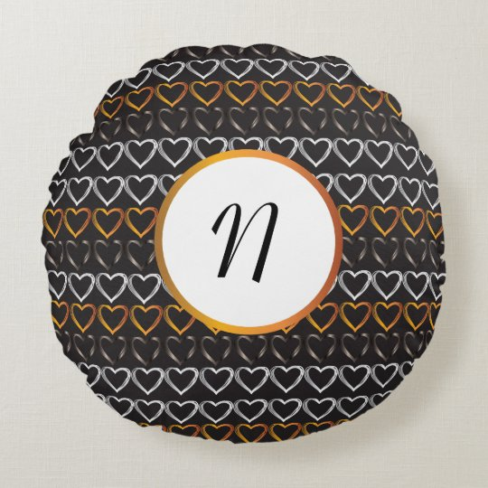 Monogram hearts round pillow