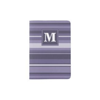 Monogram heather purple stripes passport holder