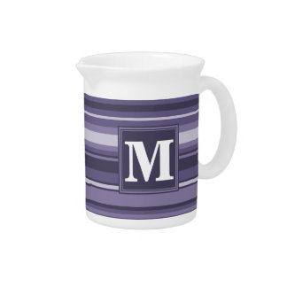 Monogram heather purple stripes pitcher
