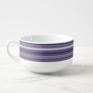 Monogram heather purple stripes soup bowl with handle