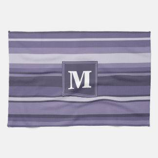 Monogram heather purple stripes towel