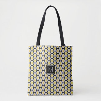 Monogram Hexagon Tortoise Pattern Yellow Tote Bag