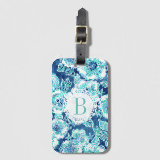 Monogram HIBISCUS BOUNTY Blue Tropical Hawaiian Bag Tag
