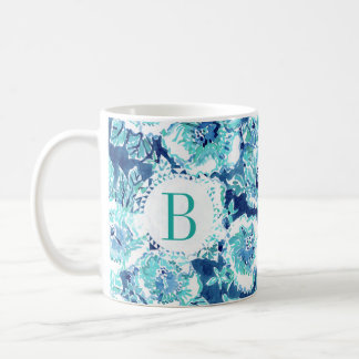 Monogram HIBISCUS BOUNTY Blue Tropical Hawaiian Coffee Mug