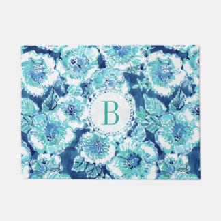 Monogram HIBISCUS BOUNTY Blue Tropical Hawaiian Doormat