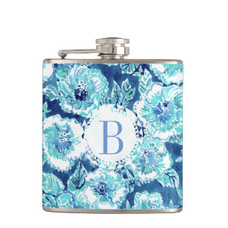 Monogram HIBISCUS BOUNTY Blue Tropical Hawaiian Hip Flask