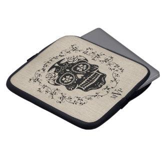 Monogram Hipster Black Sugar Skull Burlap Laptop Sleeve
