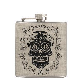 Monogram Hipster Black Sugar Skull on Burlap Hip Flask