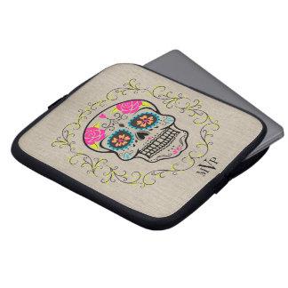 Monogram Hipster Colorful Sugar Skull Burlap Laptop Sleeve