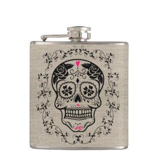 Monogram Hipster Sugar Skull on Burlap Hip Flask