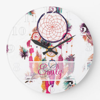 Monogram Hipster Watercolor Dreamcatcher Feathers Clocks