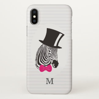 Monogram. Hipster Zebra with Fancy Tall Hat. iPhone X Case