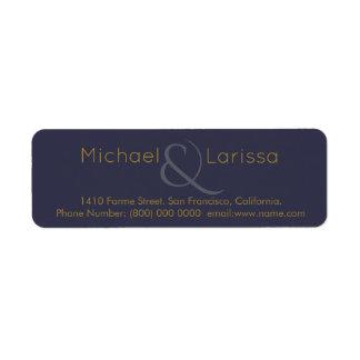 monogram ( his + her names) wedd blue elegant return address label