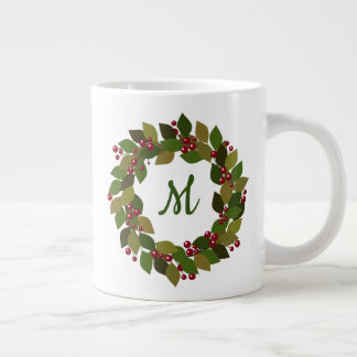 Monogram Holiday Wreath | Berries and Leaves Large Coffee Mug