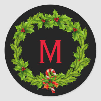 Monogram Holly Berry Wreath Classic Round Sticker