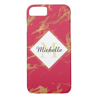Monogram Hot Pink and Gold Marble iPhone 8/7 Case