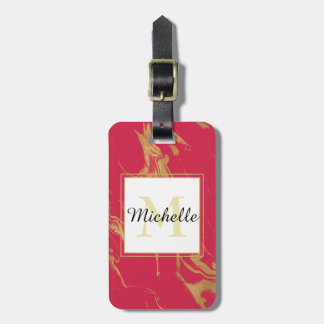 Monogram Hot Pink and Gold Marble Luggage Tag