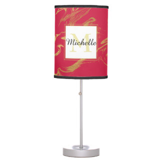 Monogram Hot Pink and Gold Marble Table Lamp