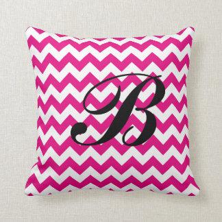 Monogram Hot Pink and White Chevron Throw Pillow
