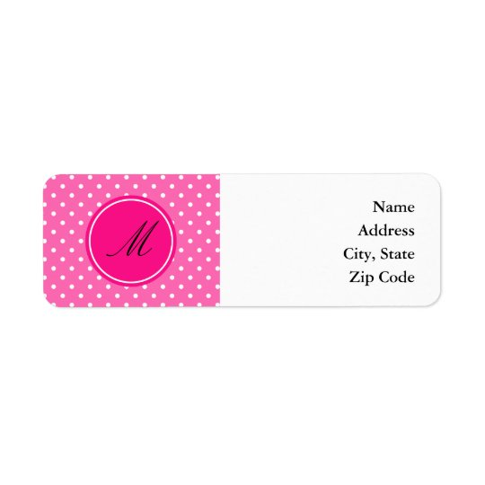 Monogram Hot Pink and White Polka Dot Pattern