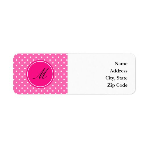 Monogram Hot Pink and White Polka Dot Pattern Custom Return Address Labels