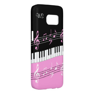 Monogram Hot pink Black White Piano Keys and Notes Samsung Galaxy S7 Case