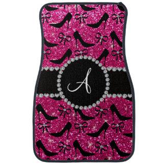 Monogram hot pink glitter black high heels bow car mat