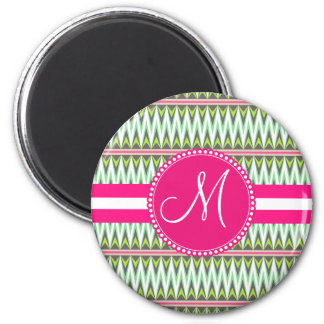 Monogram Hot Pink Green Aztec Andes Tribal Zig Zag 2 Inch Round Magnet