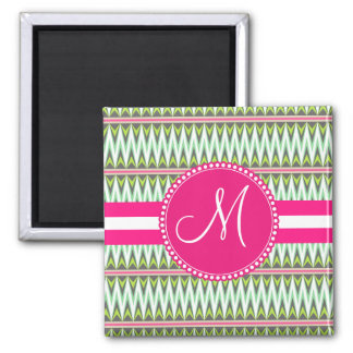 Monogram Hot Pink Green Aztec Andes Tribal Zig Zag Square Magnet