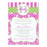 Monogram Hot Pink Green Baby Shower Invitation