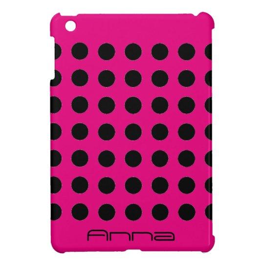 Monogram Hot Pink Polka Dot iPad Mini Cover