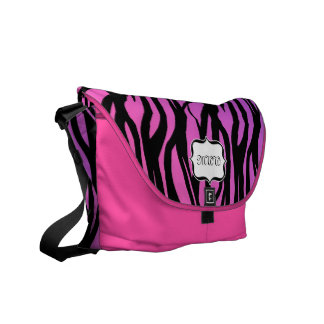 Monogram Hot Pink Purple Black Zebra Feminine Bag Messenger Bags
