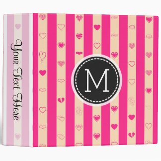 Monogram Hot Pink Stripes Elegant Modern Heart 3 Ring Binder