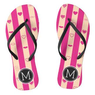 Monogram Hot Pink Stripes Modern Heart Pattern Flip Flops