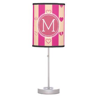Monogram Hot Pink Stripes Modern Heart Pattern Table Lamp