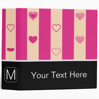 Monogram Hot Pink Stripes Modern Heart Pattern Vinyl Binders